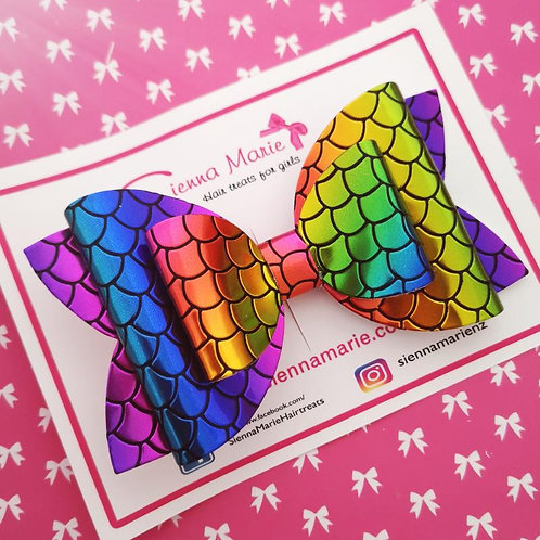 Rainbow mermaid XL Bow
