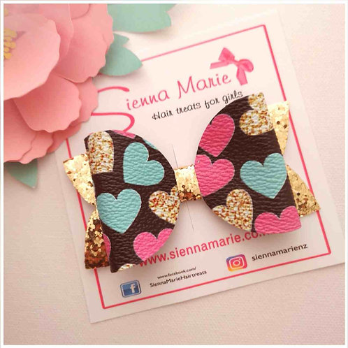 Bright Hearts Faux leather bow