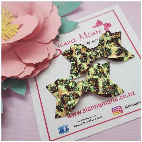 Leopard Print Glitter Mini Bows