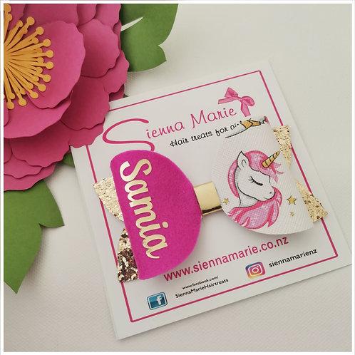 Personalised Pink Unicorn Bow