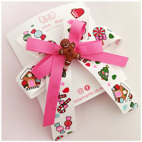 Pink candy Christmas Bow