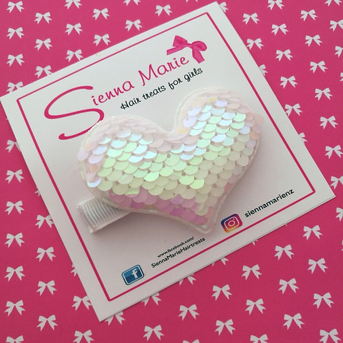 Iridescent White Reversible Sequin Heart Clip