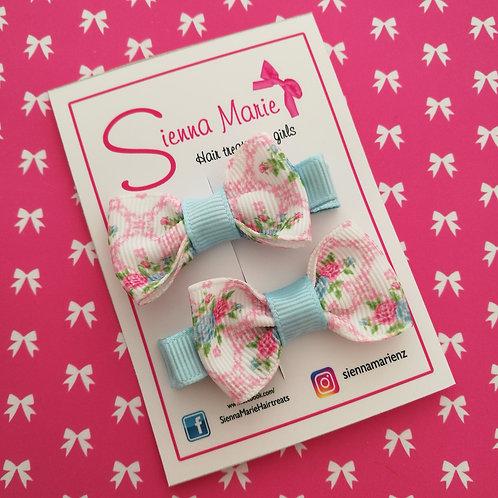Mini Bow Pair - Floral