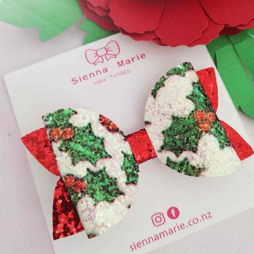 Glitter Holly print bow