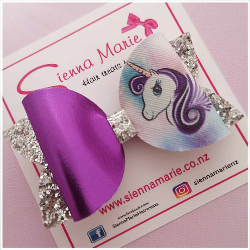Beautiful Unicorn Glitter Bow - 5 colour options