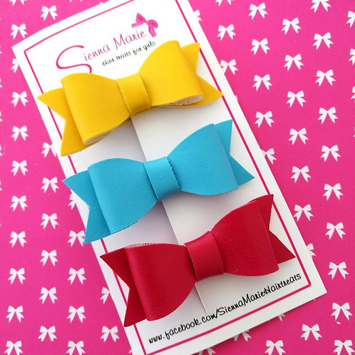 Faux Leather Bows - Mini Brights