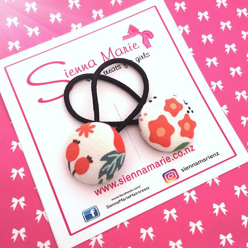 Floral Button Hair Ties