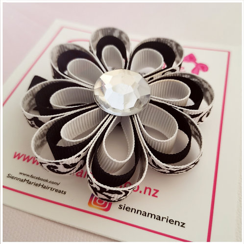 Damask Ribbon Flower Clip