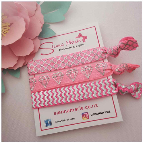 Pink/Silver no-snag hair ties