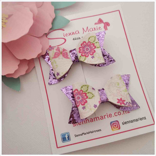 Mini Floral Bow Pair