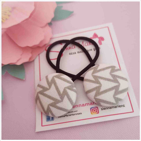 Grey print button hairtie pair