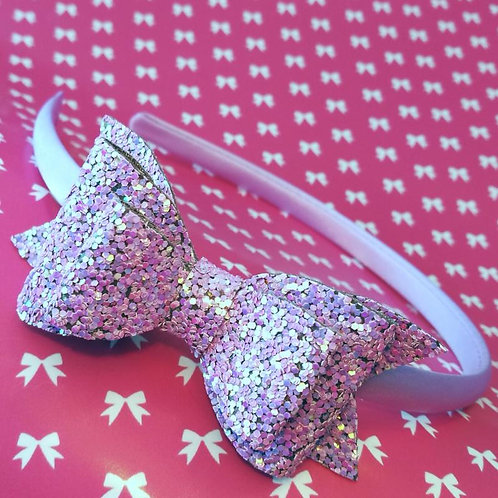 Lilac Glitter Bow Alice Band