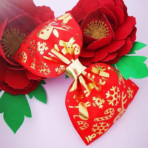 Gold Print Christmas XL bow