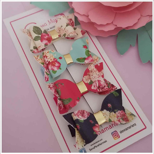 Floral Mini Bow - Four pack