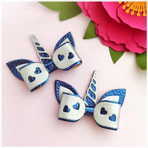 Mini Unicorn Bow - Blue/Silver