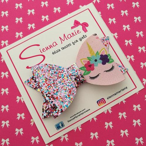 Sleeping Unicorn Glitter Bow - Pink
