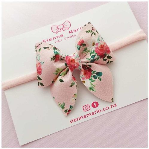 Petite floral print bow headband