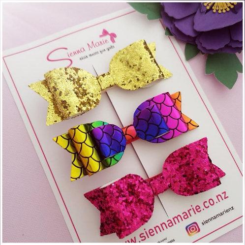 Glitter bow - 3 pack