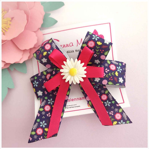Navy floral Big bow