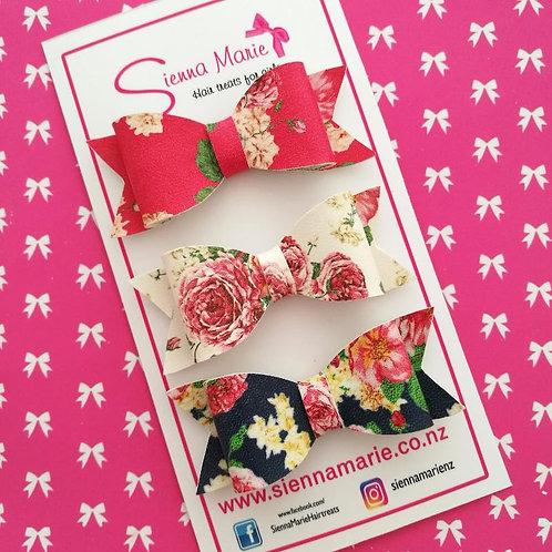 Floral Mini Bows - Three Pack.