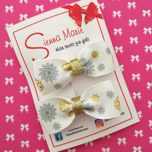 Gold/Silver Snowflake Bow Pair