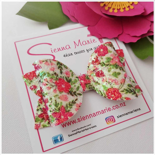Floral Glitter Bow