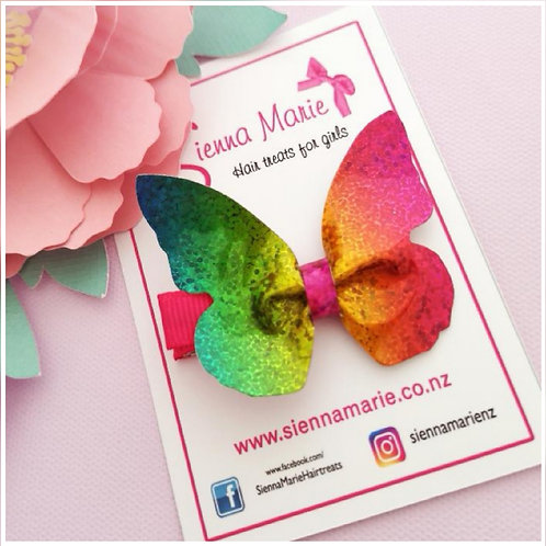Holographic Rainbow Butterfly Clip