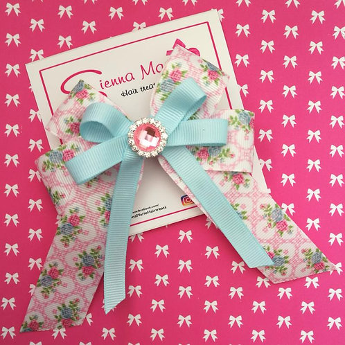 Light Blue Floral Big Bow