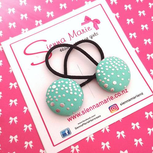 Mint Green/Silver Spot Button Hair ties
