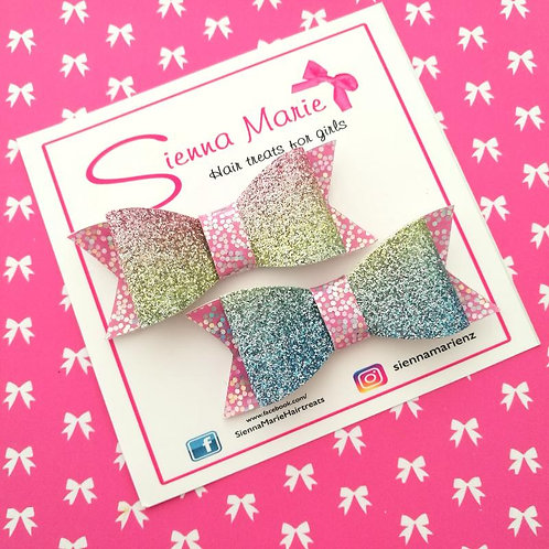 Rainbow Ombre Glitter Bow Pair