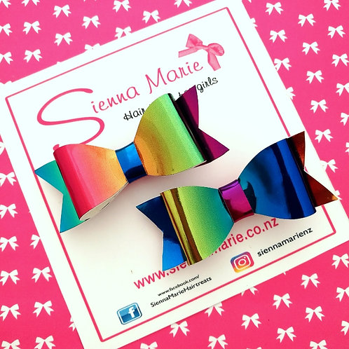 Rainbow Mirror Mini Bow Pair