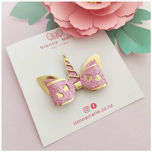 Mini Unicorn Bow - Pink/Gold