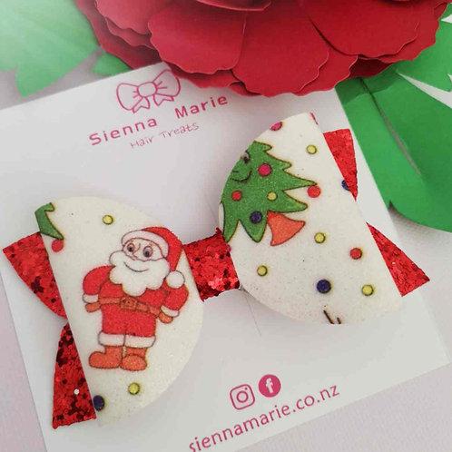 Santa glitter print bow
