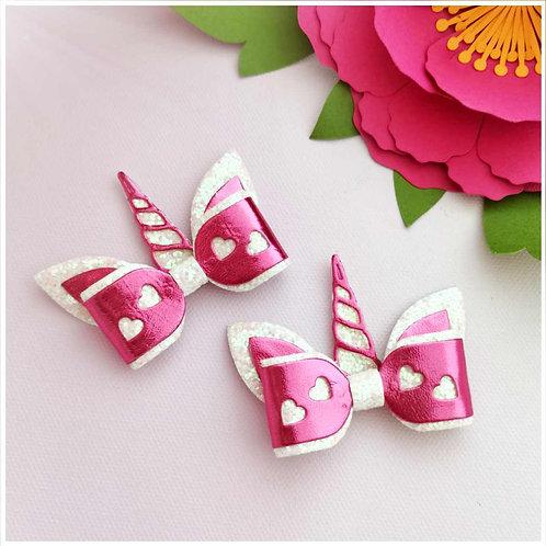 Mini Unicorn Bow Pink/White