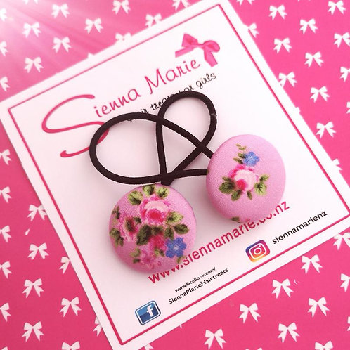 Pink floral Button Hair Ties