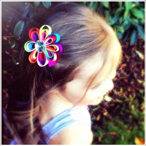 Rainbow Ribbon Flower Clip, - 6 Colour options