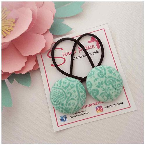 Mint print button hairties