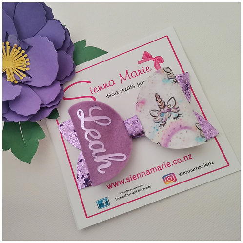 Personalised Lilac Unicorn Bow