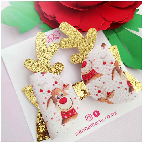 Gold reindeer bow