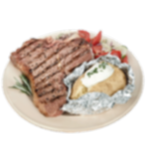 t-bone steak with loaded potato and salad or fries
