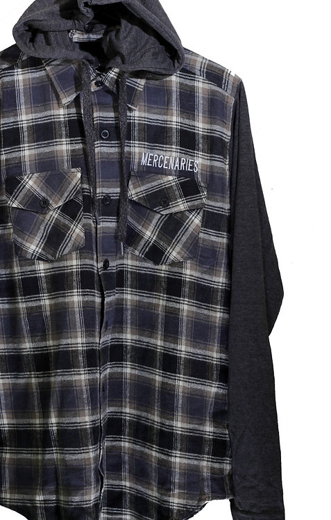Letterman Flannel button up | Blue & Grey