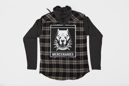 Bull Dog Flannel Hoodie | Long-Sleeve Shirt