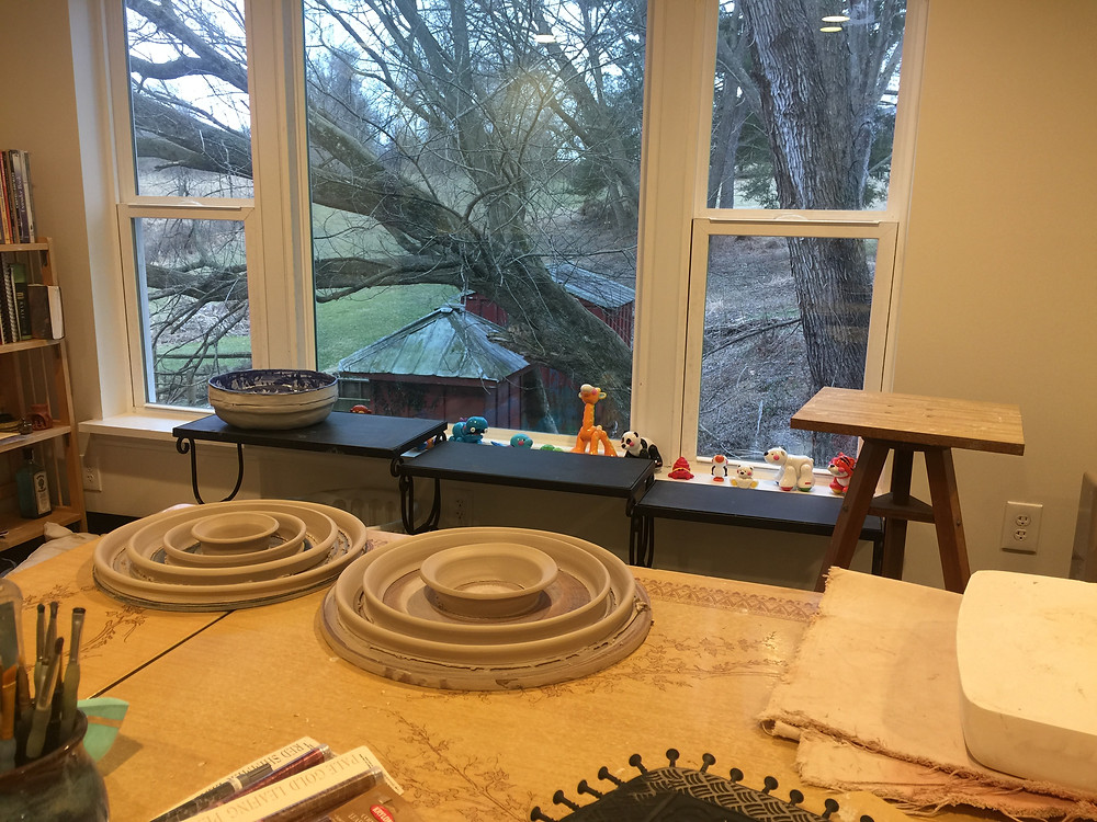 art studio, clay studio, picture window, clay art