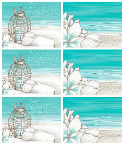 6 Placemats + 6 Coasters - Australia, Cork - Beach Lantern, Frangipani, Pollock