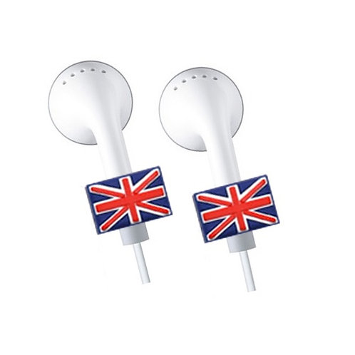 2 x Apple iPhone, iPad, iPod Earphone, Earbuds *Bling* Accessories - U.K Flag