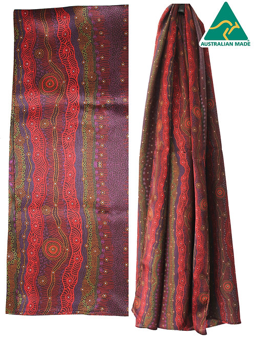 Aboriginal Ladies Scarf - 100% Satin Silk - Gathering by Creek - Australian Made