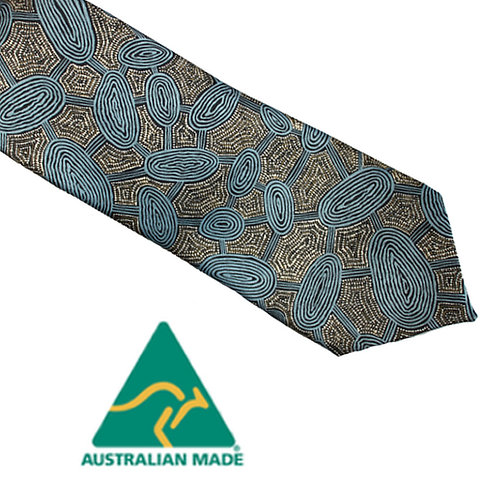 Aboriginal Men's Suit Tie - Australia, Yijan Travel Dream, Blue, Nampajimpa