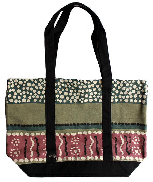 Aboriginal Tote Bag, Shopping Bag, Beach Bag, Day Bag - Australia,Cox,Green,Pink