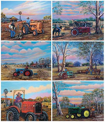 6 Placemats + 6 Coasters - Australia, Cork - Tractors, Farm Life