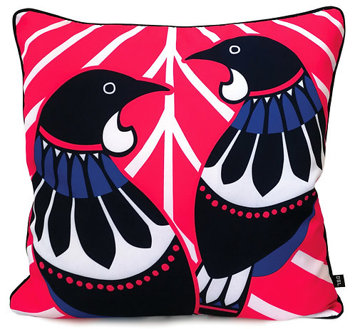 Cushion Cover - 45 x 45cm - Canvas - New Zealand, Kiwi, Tui Birds, Scandi